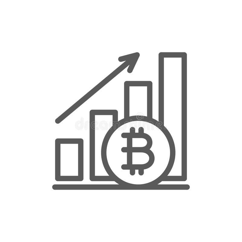Grafico ascendente, moneta del bitcoin, linea icona di cryptocurrency royalty illustrazione gratis