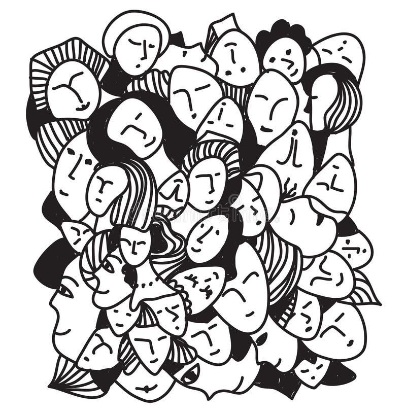 Grafico astratto dei fronti della donna disegnato a mano illustrazione di stock