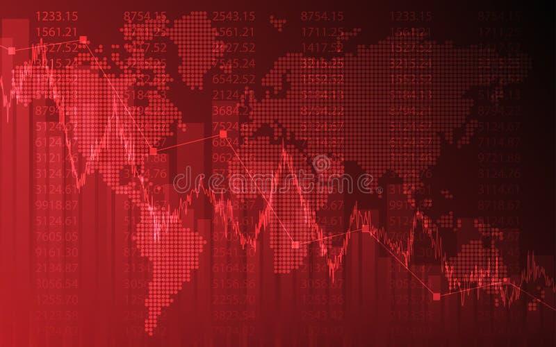 Grafico astratto di affari con grafico lineare di tendenza al ribasso e mappa di mondo nel mercato azionario sul fondo di colore  illustrazione di stock