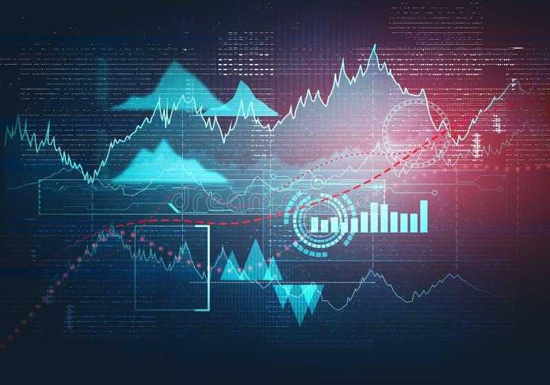 Grafico astratto di affari con grafico lineare di uptrend immagine stock