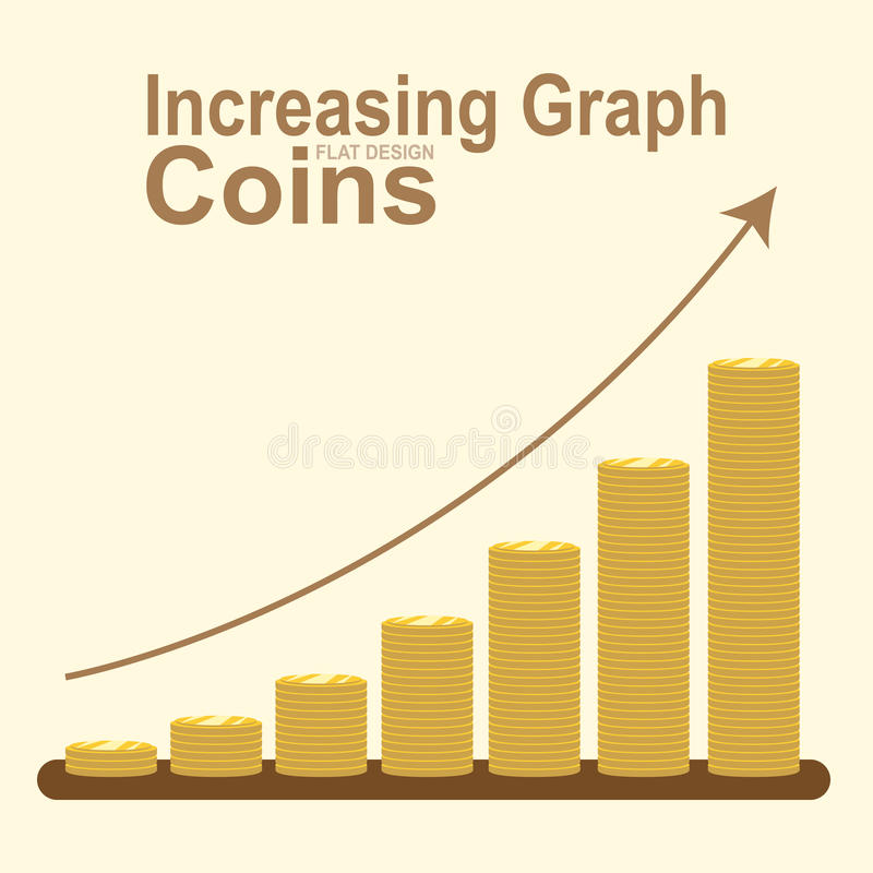 Grafico aumentante della pila dorata della moneta, vettore di concetto di affari illustrazione vettoriale