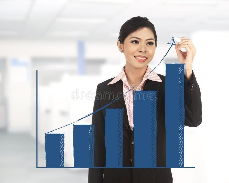 Grafico aumentante di tiraggio della donna di affari fotografia stock