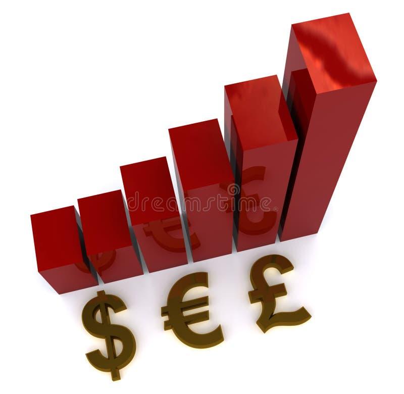 Grafico aumentante di valute illustrazione di stock