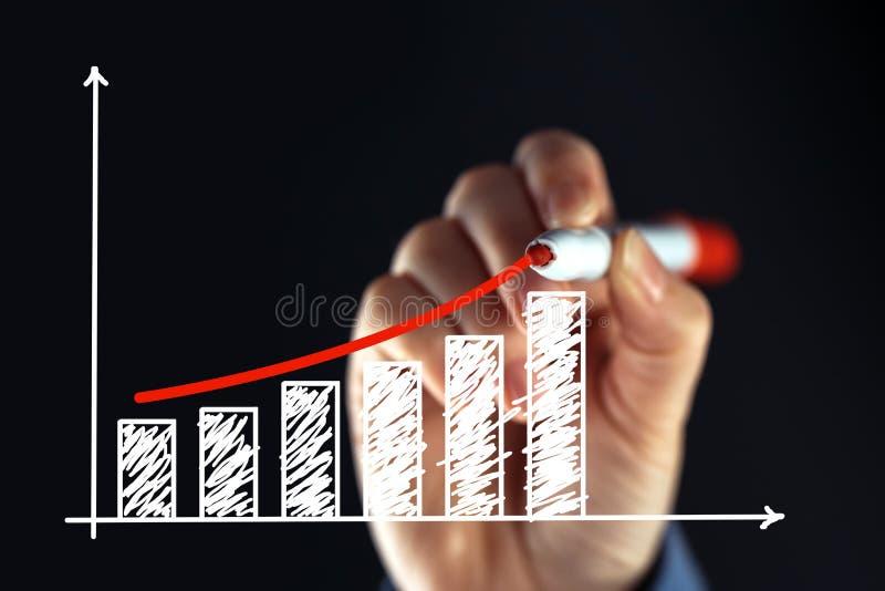 Grafico in aumento del disegno della donna di affari immagini stock