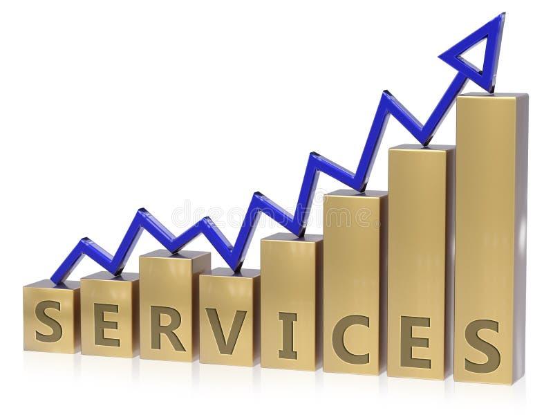 Grafico in aumento di servizi illustrazione vettoriale