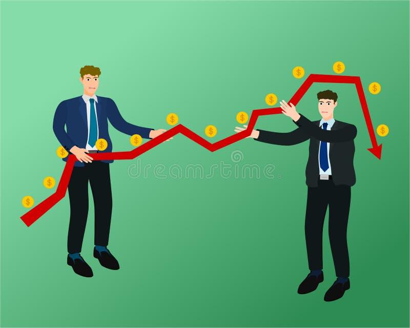 Grafico basso dei soldi di profitto della gestione dell'uomo d'affari royalty illustrazione gratis