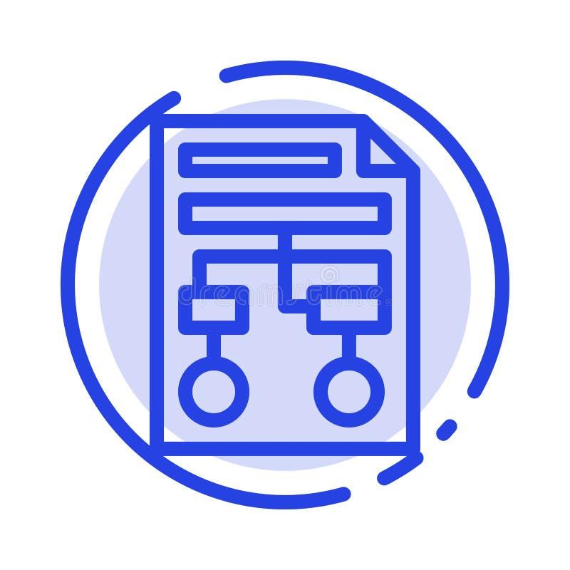 Grafico, carta, processo, Wireframe, linea punteggiata blu linea icona del documento illustrazione di stock