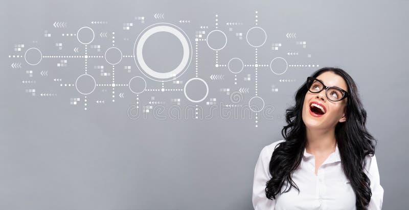 Grafico collegato dei cerchi con la giovane donna di affari illustrazione di stock