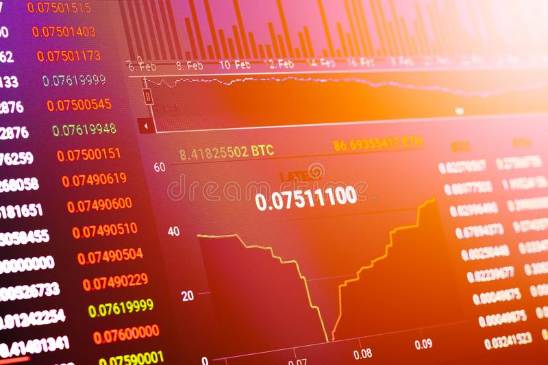 Grafico commerciale BTC ETH del mercato azionario di Cryptocurrency con il filtro E-F fotografie stock