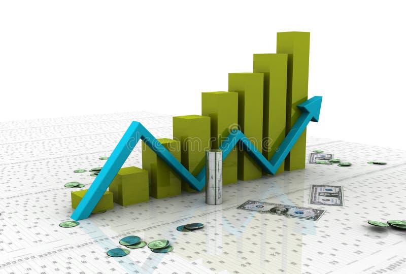 Grafico commerciale con il dollaro illustrazione di stock