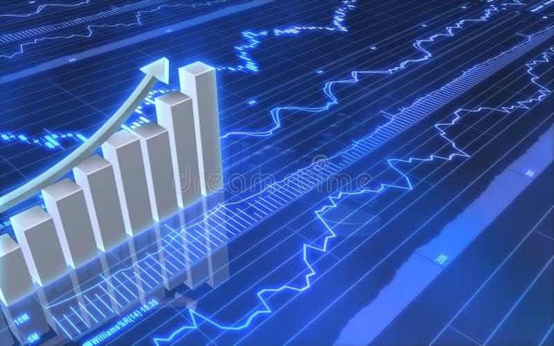 Grafico commerciale con la freccia alta illustrazione di stock