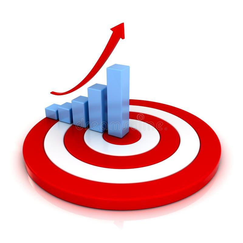 Grafico commerciale con la freccia in aumento sull'obiettivo rosso illustrazione vettoriale