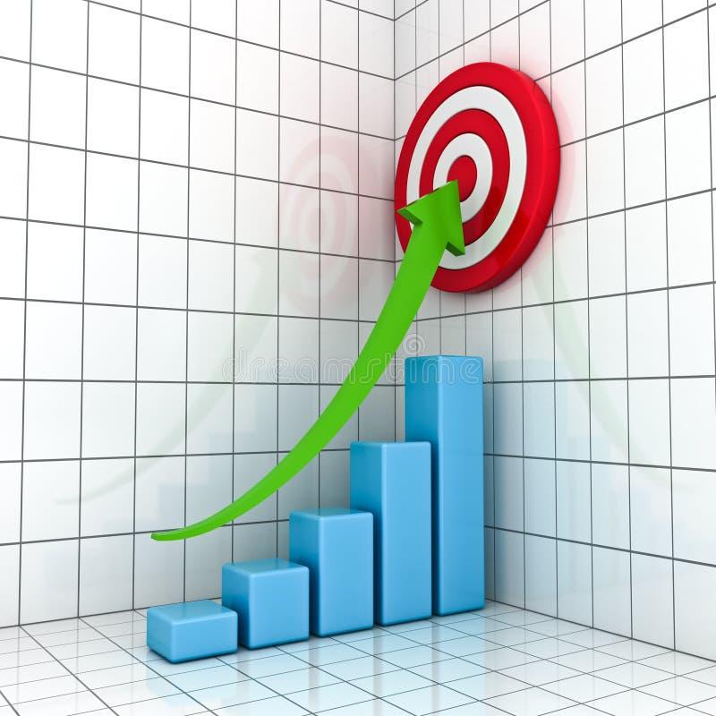Grafico commerciale con la freccia in aumento verde illustrazione vettoriale