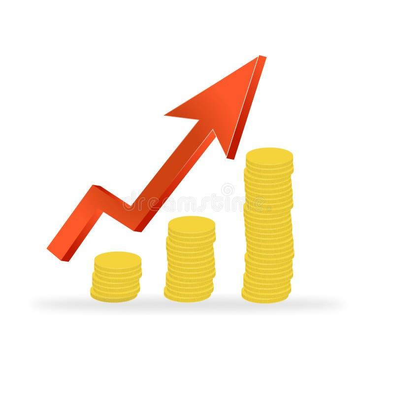 Grafico commerciale con la freccia e monete che mostrano i profitti ed i guadagni royalty illustrazione gratis