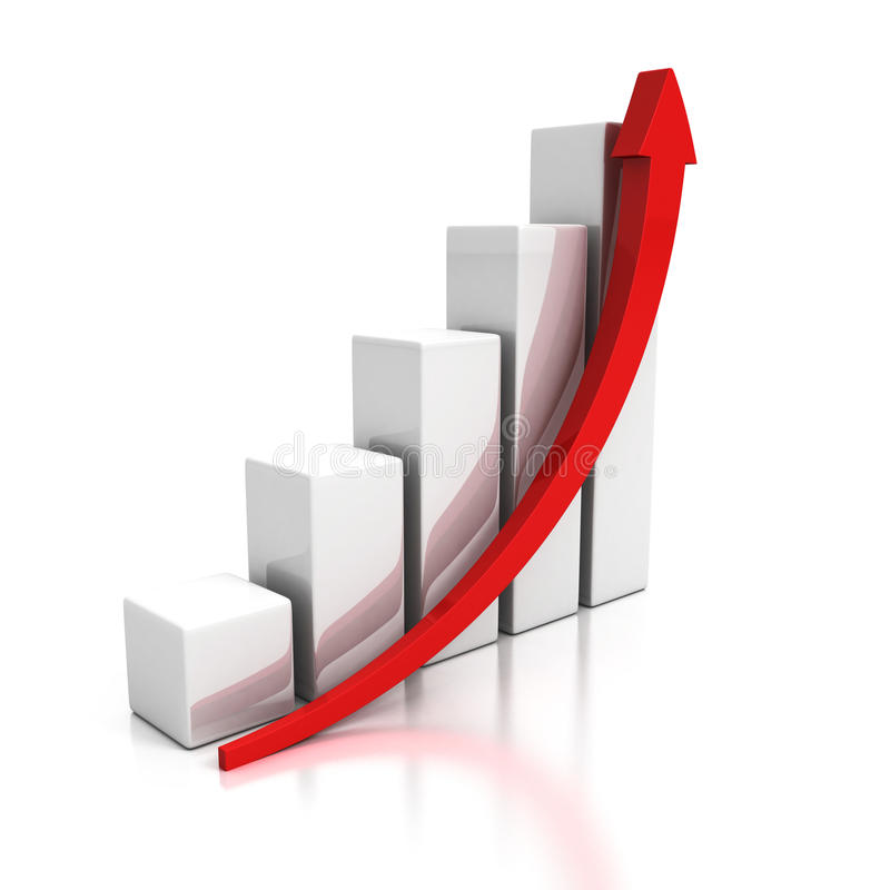 Grafico commerciale crescente con la freccia in aumento royalty illustrazione gratis