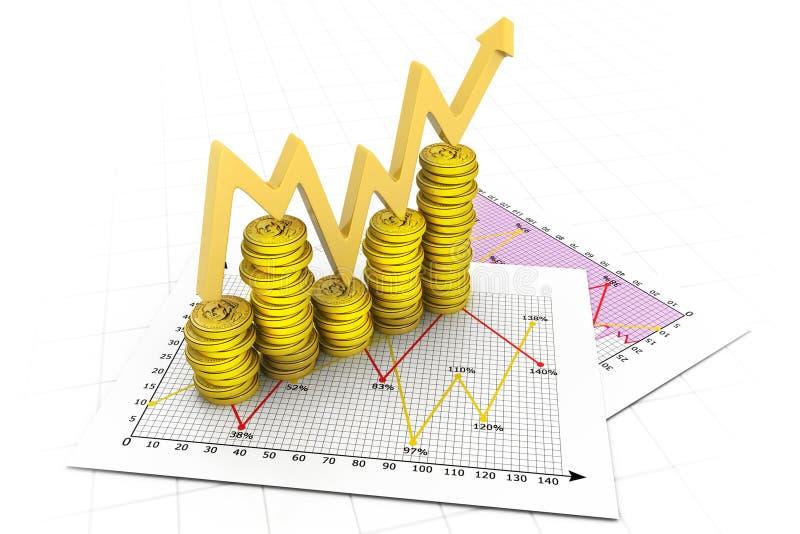 Grafico commerciale delle monete del dollaro illustrazione vettoriale