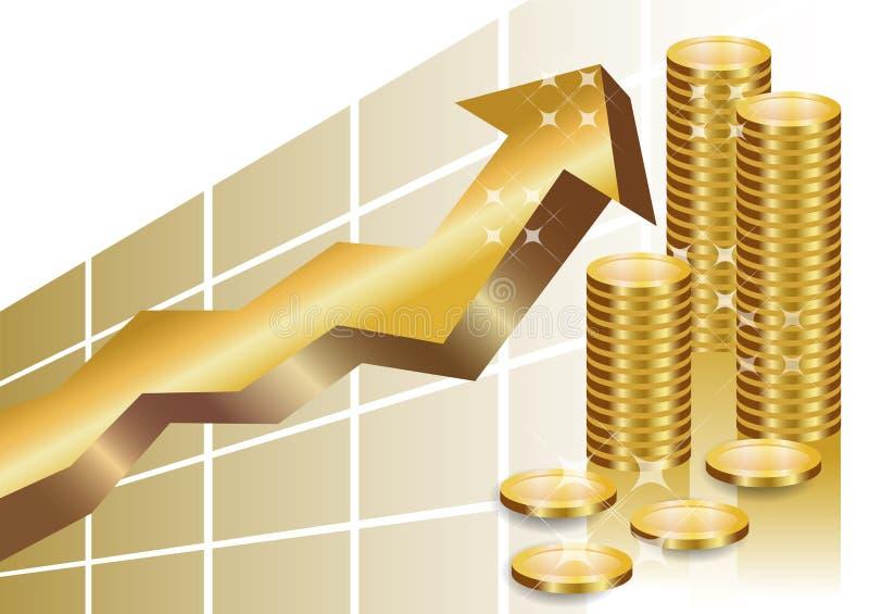 Grafico commerciale dorato con la pila di monete illustrazione vettoriale
