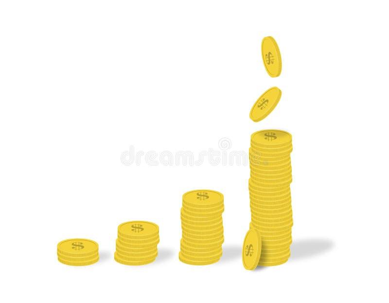 Grafico commerciale - i mucchi delle monete e delle monete di caduta con la rappresentazione del simbolo di dollaro usufruisce e  illustrazione di stock