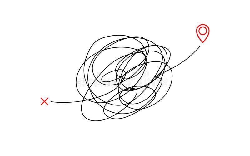 Grafico complicato di concetto dell'illustrazione della destinazione di modo sudicio insano linea aggrovigliata progettazione del royalty illustrazione gratis