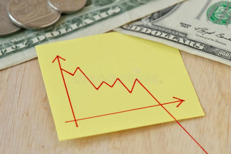 Grafico con il cavo di discesa sulla nota della carta, monete del dollaro e banconote - concetto di valore perso dei soldi fotografie stock