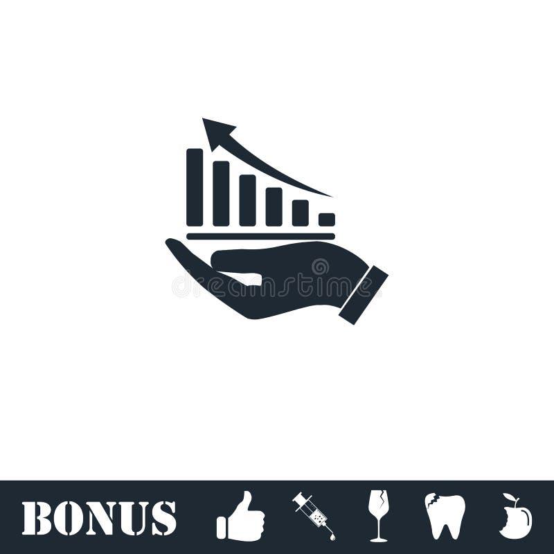 Grafico crescente che tiene a mano il piano dell'icona illustrazione di stock