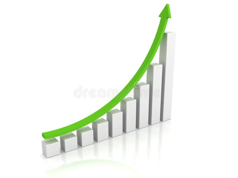 Grafico crescente con una freccia verde che indica verso l'alto royalty illustrazione gratis