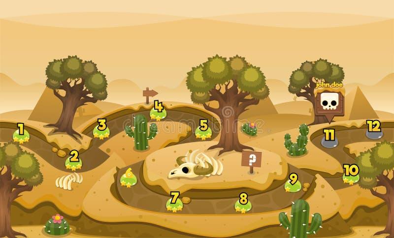 Grafico a curva di livello del gioco del deserto della piramide illustrazione di stock