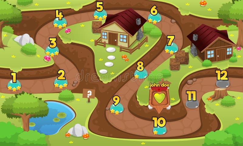 Grafico a curva di livello del gioco medievale del villaggio royalty illustrazione gratis