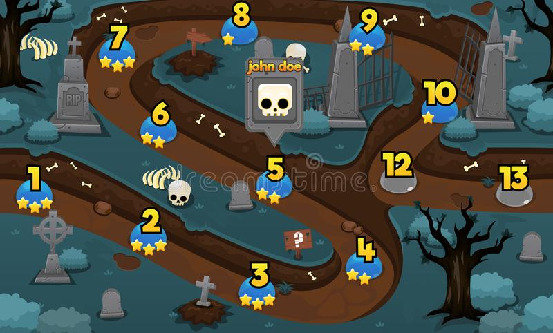 Grafico a curva di livello del gioco spaventoso del cimitero illustrazione di stock