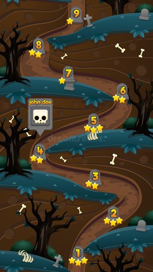 Grafico a curva di livello del gioco verticale spaventoso del cimitero illustrazione vettoriale