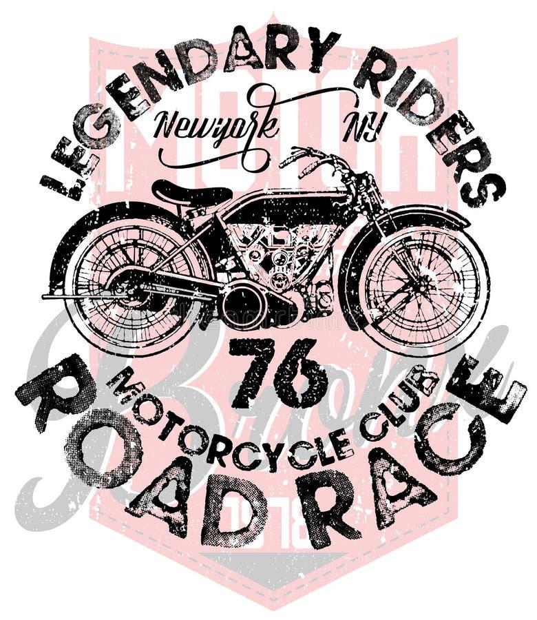 Grafico d'annata della maglietta del motociclo royalty illustrazione gratis