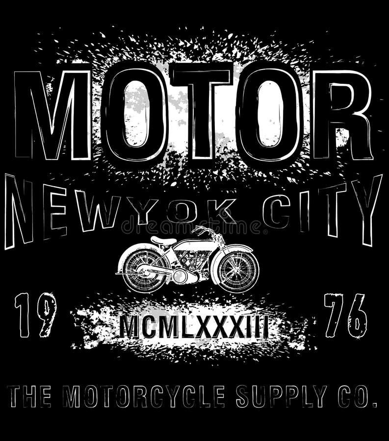 Grafico d'annata della maglietta del motociclo illustrazione di stock