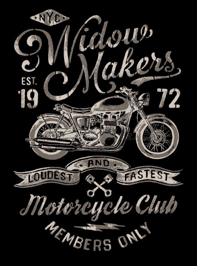Grafico d'annata dipinto a mano del motociclo illustrazione vettoriale