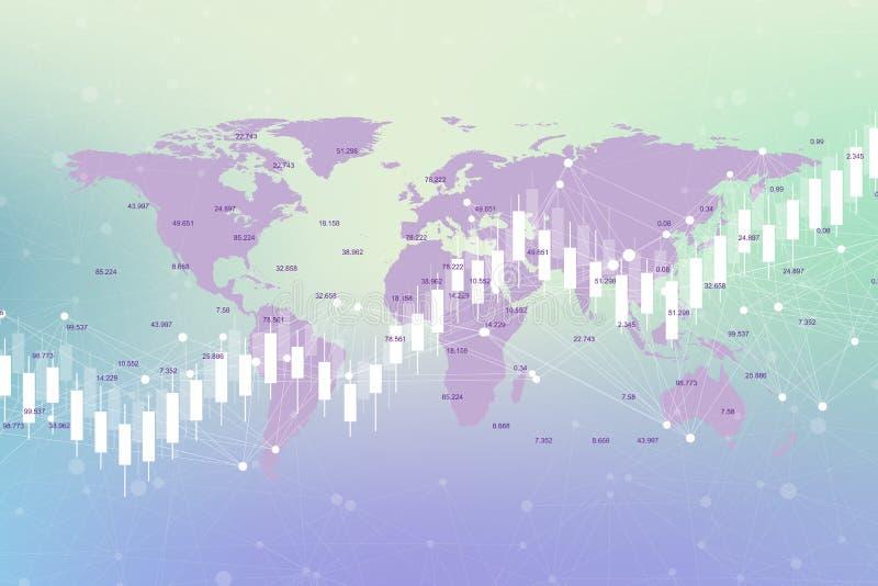Grafico del grafico del bastone della candela di affari dell'investimento del mercato azionario che vende sulla progettazione del royalty illustrazione gratis