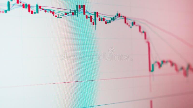 Grafico del candeliere, fluttuazione dei prezzi nella valuta o mercato dei valori mobiliari fotografie stock