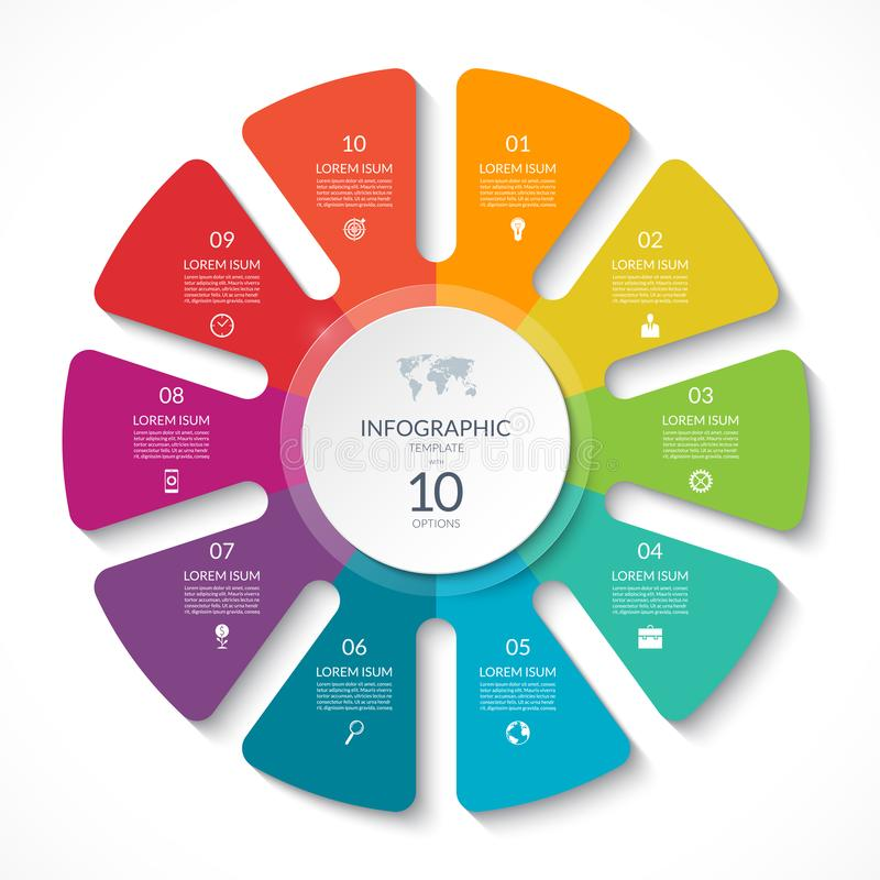 Grafico del cerchio di Infographic Diagramma del ciclo di vettore con 10 opzioni illustrazione di stock