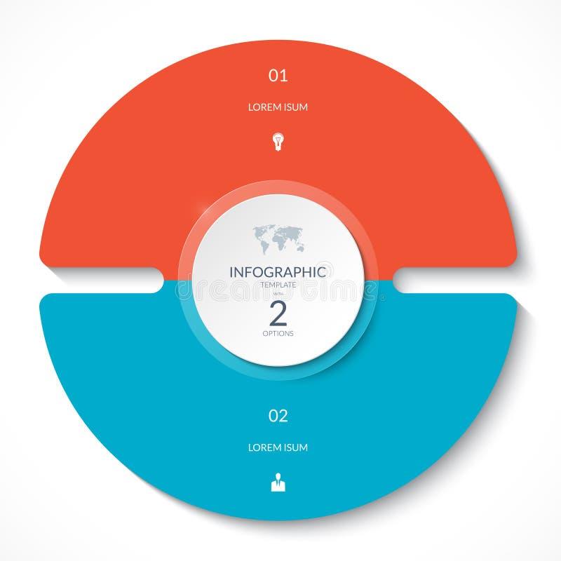 Grafico del cerchio di Infographic Diagramma del ciclo di vettore con 2 opzioni illustrazione di stock