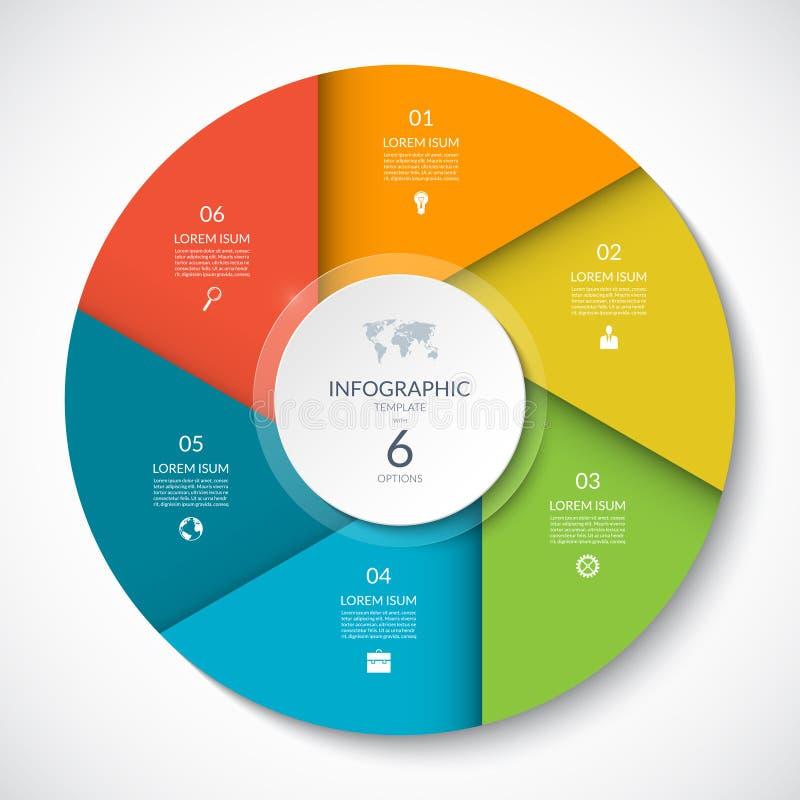 Grafico del cerchio per il infographics Diagramma vettoriale con 6 opzioni illustrazione di stock