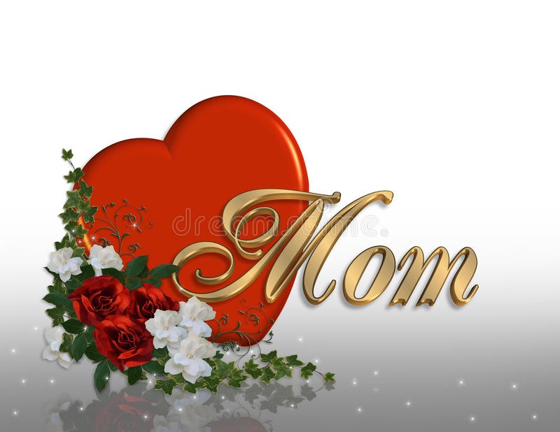 Grafico del cuore 3D della scheda di giorno di madri royalty illustrazione gratis