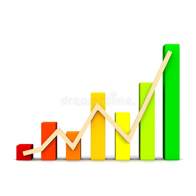 Grafico del diagramma di affari con le frecce rappresentazione 3d illustrazione vettoriale
