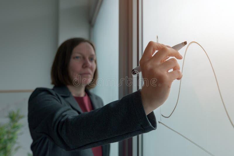 Grafico del disegno della donna di affari sulla lavagna in ufficio immagini stock