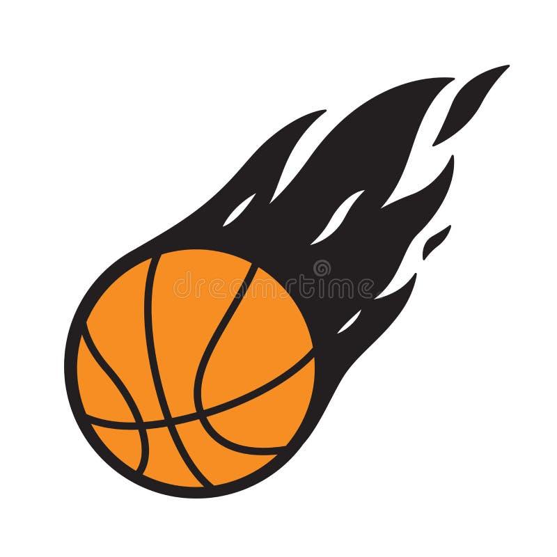 Grafico del fumetto dell'illustrazione di simbolo di fuoco dell'icona di logo di vettore di pallacanestro royalty illustrazione gratis