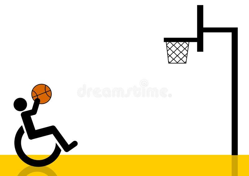 Grafico del giocatore di pallacanestro della sedia a rotelle illustrazione di stock