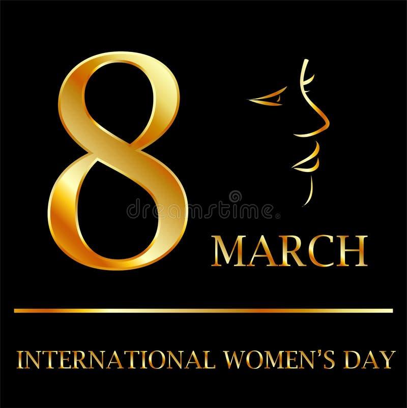 Grafico del giorno delle donne in oro illustrazione vettoriale