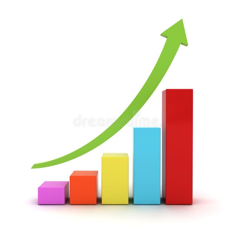 Grafico del grafico commerciale con la freccia in aumento verde royalty illustrazione gratis