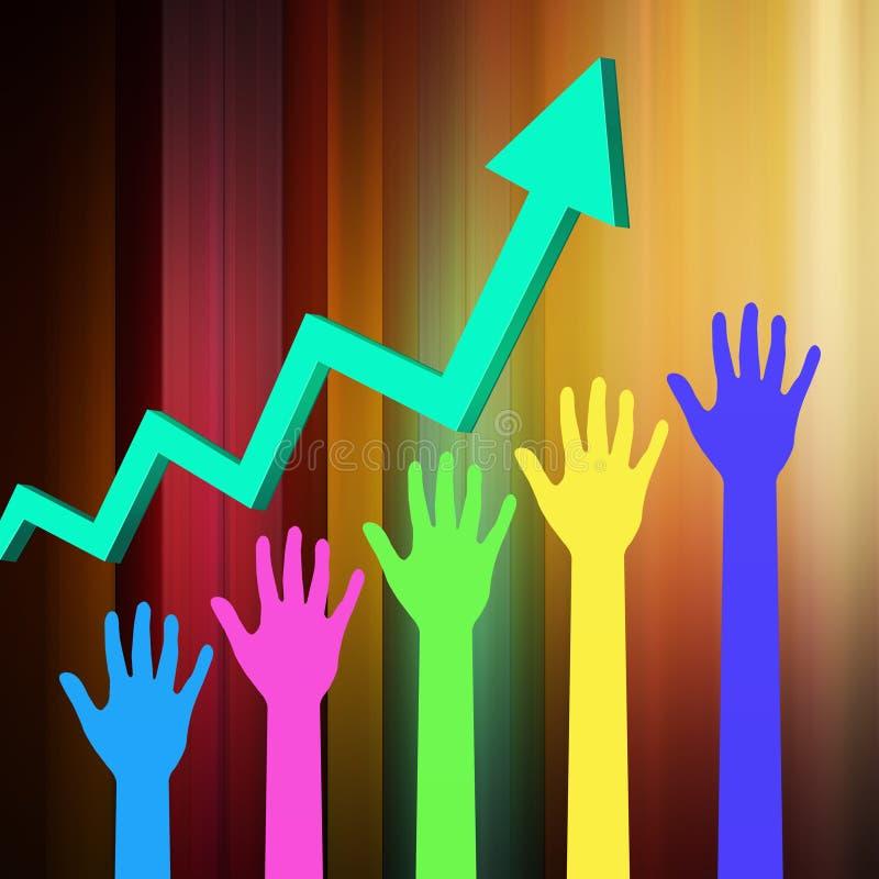 Grafico del mercato azionario con la mano illustrazione vettoriale