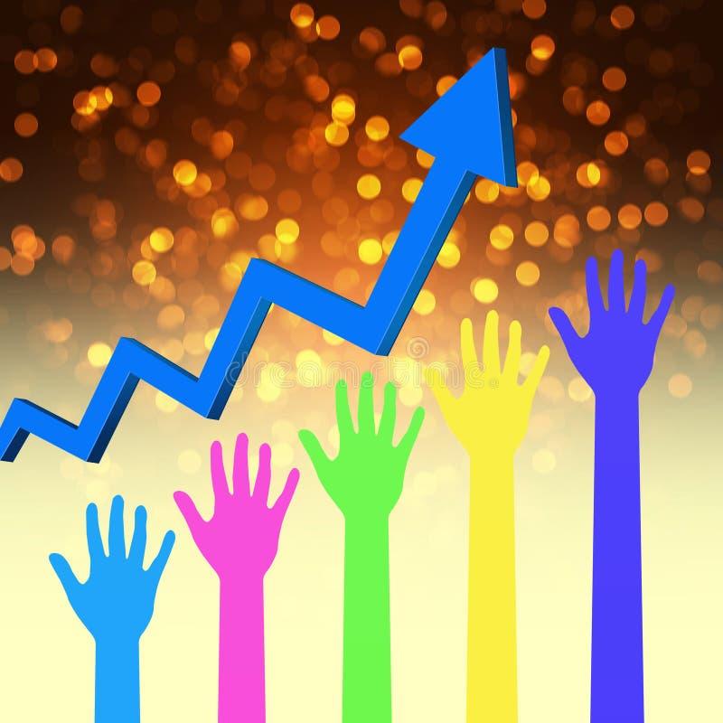 Grafico del mercato azionario con la mano illustrazione di stock