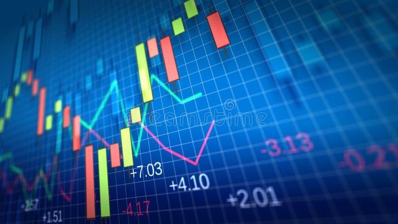 Grafico del mercato azionario Profondità del campo poco profonda illustrazione vettoriale