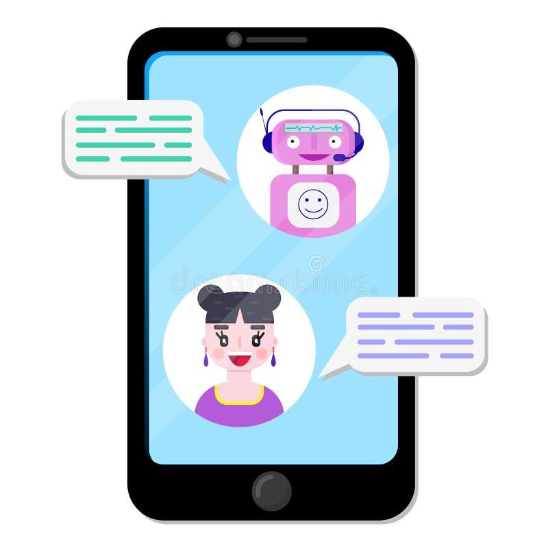 Grafico del robot con la ragazza illustrazione di stock