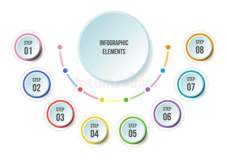 Grafico del semicerchio, modelli infographic di cronologia illustrazione vettoriale
